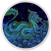Chinese Azure Dragon Round Beach Towel