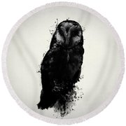 The Owl Round Beach Towel by Nicklas Gustafsson