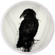 Round Beach Towel featuring the photograph The Raven by Nicklas Gustafsson