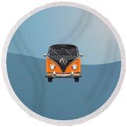 Volkswagen Type 2 - Black And Orange Volkswagen T 1 Samba Bus Over Blue Round Beach Towel