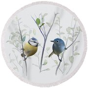 Birds In Tree Round Beach Towel