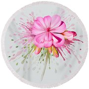 Round Beach Towel featuring the painting Pink Eruption by Ivana Westin