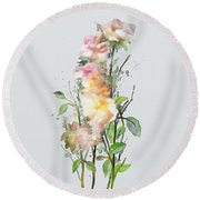 Round Beach Towel featuring the painting Wild Roses by Ivana Westin