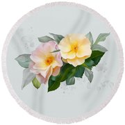 Round Beach Towel featuring the painting Two Wild Roses by Ivana Westin