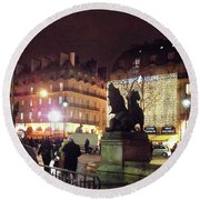 Round Beach Towel featuring the photograph Place Saint-michel by Felipe Adan Lerma