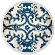 Blue Oriental Vintage Tile 02 Round Beach Towel