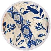 Blue Oriental Vintage Tile 04 Round Beach Towel