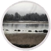 Round Beach Towel featuring the painting Too Early Out by Ivana