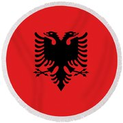Round Beach Towel featuring the digital art Flag Of Albania Authentic Version by Bruce Stanfield