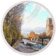 Round Beach Towel featuring the photograph The Seine And Quay Beside Notre Dame, Autumn by Felipe Adan Lerma