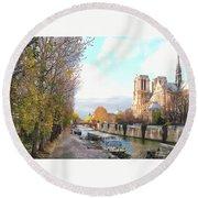 The Seine And Quay Beside Notre Dame, Autumn Round Beach Towel by Felipe Adan Lerma
