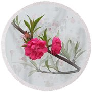 Round Beach Towel featuring the painting Hot Pink Blossom by Ivana Westin