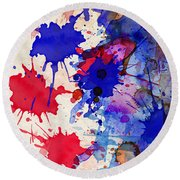 Blue And Red Color Splash Round Beach Towel