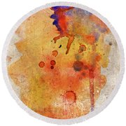 Orange Color Splash Round Beach Towel