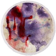 Purple Color Splash Round Beach Towel