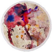 Red Color Splash Round Beach Towel