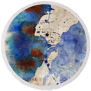 Blue Color Splash Round Beach Towel