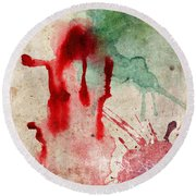 Green And Red Color Splash Round Beach Towel