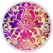Purple Damask Pattern Round Beach Towel