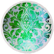 Green Damask Pattern Round Beach Towel