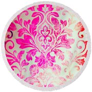 Pink Damask Pattern Round Beach Towel