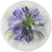 Blue Purple Flowers Round Beach Towel