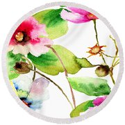 Flowers 03 Round Beach Towel