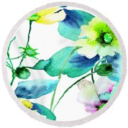 Flowers 08 Round Beach Towel