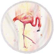 Pink Flamingo Watercolor Rain Round Beach Towel by Olga Shvartsur