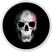 Round Beach Towel featuring the digital art Mexican Skull by Nicklas Gustafsson