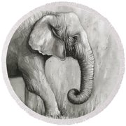 Elephant Watercolor Round Beach Towel