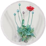 Round Beach Towel featuring the painting Poppy by Ivana Westin