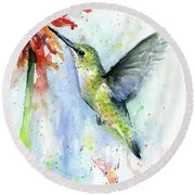 Hummingbird And Red Flower Watercolor Round Beach Towel