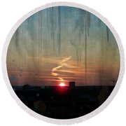 Round Beach Towel featuring the painting Urban Sunrise by Ivana Westin