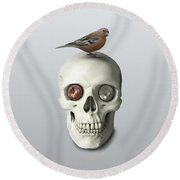 Round Beach Towel featuring the painting Skull And Bird by Ivana Westin