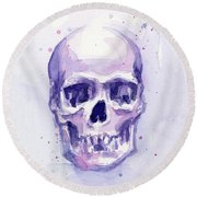 Purple Skull Round Beach Towel