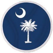 Flag Of South Carolina Authentic Version Round Beach Towel