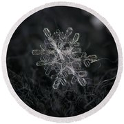 Snowflake Photo - January 18 2013 Grey Colors Round Beach Towel