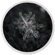 Snowflake Photo - January 18 2013 Grey Colors Round Beach Towel by Alexey Kljatov