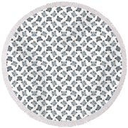 Cute Gray Tabby Cat Face Round Beach Towel by MM Anderson