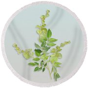 Round Beach Towel featuring the painting Yellow Tiny Flowers by Ivana Westin