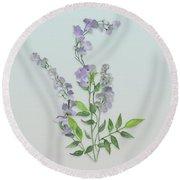 Purple Tiny Flowers Round Beach Towel by Ivana Westin