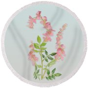 Round Beach Towel featuring the painting Pink Tiny Flowers by Ivana Westin