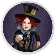 Mad Hatter Portrait Round Beach Towel by Methune Hively