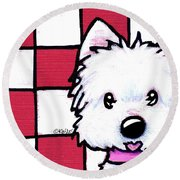 Westie On Checks Round Beach Towel