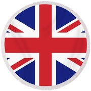 Union Jack Ensign Flag 1x2 Scale Round Beach Towel