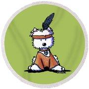 Westie Pocahontas Round Beach Towel