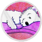 Sleepy Westie Girl Round Beach Towel