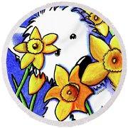 Kiniart Westie Daffodils Round Beach Towel