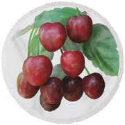 Round Beach Towel featuring the painting Sour Cherry by Ivana Westin